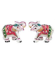 Set of 2 Decorative Elephants - Marble Statue