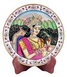 Noorjahan Painting on Marble Plate - Showpiece