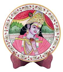 Krishna Painting on Marble Plate