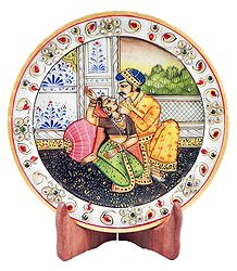 Rajput Couple Painting on Marble Plate - Showpiece