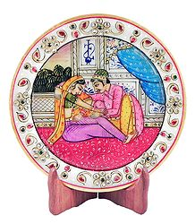 Lover Couple Painting on Marble Plate - Showpiece