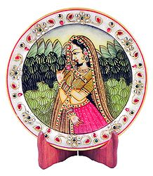 Rajput Princess - Painting on Marble Plate - Showpiece