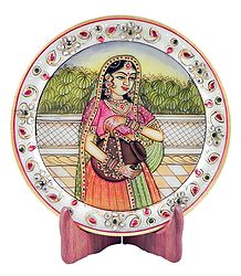 Lady with Kalash - Painting on Marble Plate