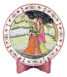 Radha Krishna Painting on Marble Plate - Showpiece