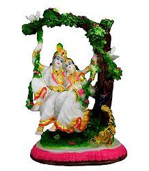 Radha Krishna on Swing - Marble Duist Statue