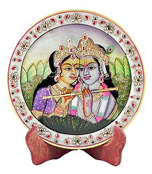 Radha Krishna Painting on Marble Plate