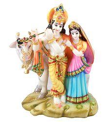 Radha Krishna Marble Dust Statue