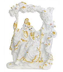 Marble Dust Radha Krishna on Swing - Glow in the Dark