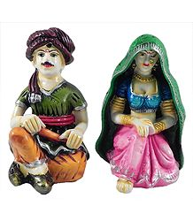 Rajasthani Couple - Set of 2 Stone Dust Statue