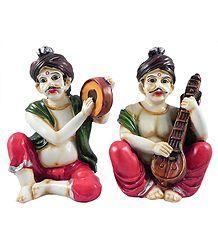 Rajasthani Musicians - Stone Dust Statue