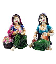 Rajasthani Women - Set of 2 Stone Dust Statue