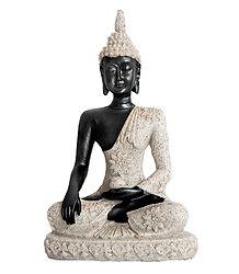 Buddha in Bhumisparsha Mudra - Poly Resin and Sandstone