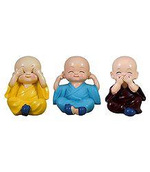 Buy 3 Cute Baby Shaolin Monks - Stone Dust Showpiece