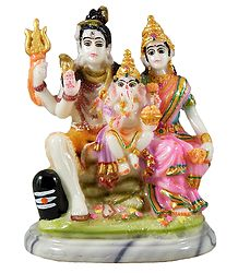 Shiva with Family - Marble Dust Statue