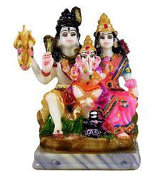 Shiva Parivar - Marble Dust Statue