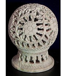 Intricately Carved Ball Shaped Candle Stand in Stone