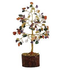 Multicolor Stone Chips Wire Tree on Wood Base