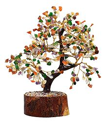 300 Mixed Gemstone Chips Wire Tree on Wood Base