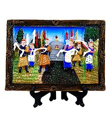 Folk Dancers on Plate with Stand - Stone Dust Showpiece