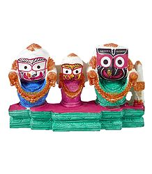 Jagannath, Balaram, Subhadra on Green Base