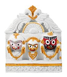 Jagannath, Balaram, Subhadra  with White Peacock Chali