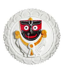 Stone Dust Jagannath, Balaram, Subhadra on White Lotus