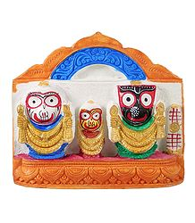 Jagannath, Balaram, Subhadra on Saffron Base