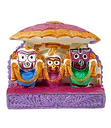 Jagannath, Balaram, Subhadra Under Pink Umbrella