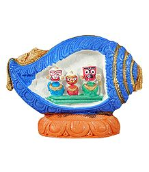 Jagannath, Balaram, Subhadra in a Blue Conch