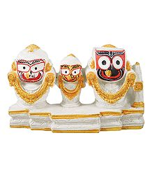 Jagannath, Balaram, Subhadra on White Base
