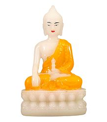 White Buddha with Yellow Robe - Marble Dust Statue