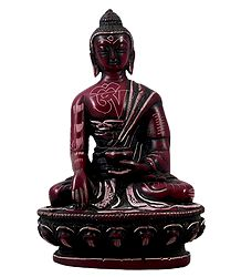 Buddha with Carved Robe - Natural Red Stone Statue