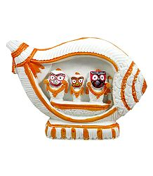 Jagannath, Balaram, Subhadra in a White Conch