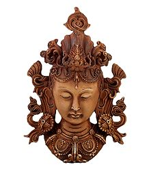 Brown Tara Face - Stone Dust Sculpture - Wall Hanging
