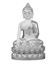 White Buddha in Silver Robe - Stone Dust Statue