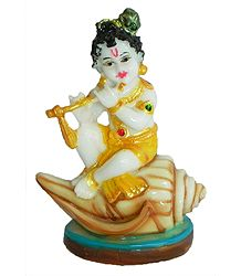 Makhan Chor Krishna Sitting on Conch