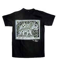 Rubber Print White Elephant on Black T-Shirt
