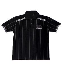 Black Polo T-Shirt with White Stripes