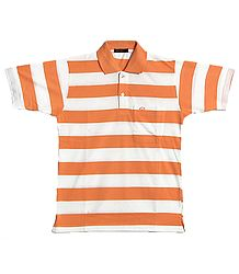 Light Saffron and White Stripe Polo T-Shirt
