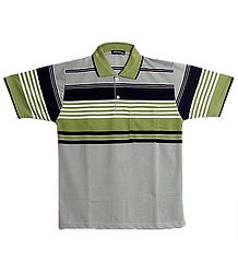 Light Grey, Olive Green, Black and White Stripe Polo T-Shirt