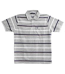 Stripe on Grey Polo T-Shirt