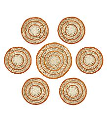 7 Pieces of Hand Woven Round Grass Fibre Table Mats