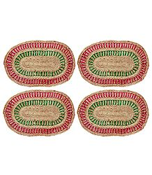 4 Hand Woven Oval Jute Table Mats
