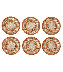 6 Pieces Hand Woven Round Grass Fibre Table Mats