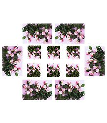 Set of Six Dining Table Mats and Coasters with Flower  Print