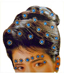 Stone Studded Stick-on Hair, Forehead and Ear Decoration for Brides