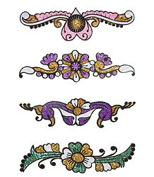 Four Multicolor Glitter Tattoos
