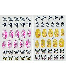 Set of 2 Decorative Sheets of Sticker for Nails