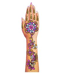 Multicolor Glitter Sticker Mehendi for Single Hand