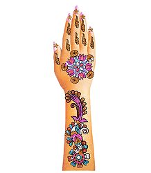 Multicolor Glitter Stick-on Mehendi for Single Hand